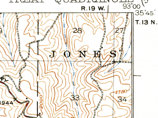 Reduced fragment of topographic map en--usgs--063k--063671--(1934)--N035-45_W093-15--N035-30_W093-00