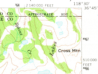 Reduced fragment of topographic map en--usgs--063k--063701--(1956)--N036-45_W118-45--N036-30_W118-30