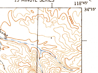 Reduced fragment of topographic map en--usgs--063k--063704--(1943)--N034-15_W119-00--N034-00_W118-45; towns and cities Thousand Oaks, Agoura Hills, Westlake Village, Casa Conejo, Oak Park