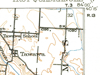 Reduced fragment of topographic map en--usgs--063k--063714--(1914)--N040-15_W084-15--N040-00_W084-00; towns and cities Troy, Casstown, Christiansburg, Fletcher