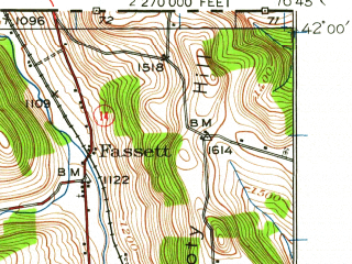 Reduced fragment of topographic map en--usgs--063k--063715--(1931)--N042-00_W077-00--N041-45_W076-45; towns and cities Roseville, Sylvania, Troy