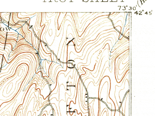 Reduced fragment of topographic map en--usgs--063k--063716--(1898)--N042-45_W073-45--N042-30_W073-30 in area of Burden Lake; towns and cities Troy, Latham, Watervliet, Rensselaer, Hampton Manor