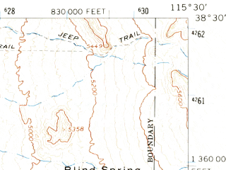 Reduced fragment of topographic map en--usgs--063k--063719--(1964)--N038-30_W115-45--N038-15_W115-30