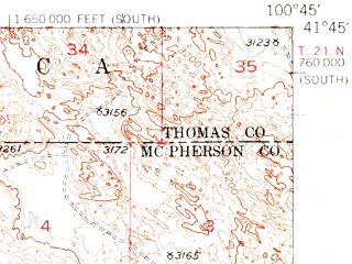 Reduced fragment of topographic map en--usgs--063k--063721--(1951)--N041-45_W101-00--N041-30_W100-45