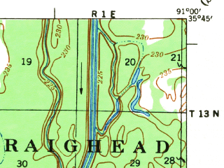 Reduced fragment of topographic map en--usgs--063k--063726--(1935)--N035-45_W091-15--N035-30_W091-00; towns and cities Newport, Grubbs, Tuckerman, Amagon