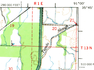 Reduced fragment of topographic map en--usgs--063k--063726--(1967)--N035-45_W091-15--N035-30_W091-00; towns and cities Newport, Amagon, Grubbs, Tuckerman