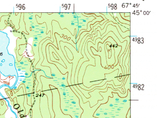 Reduced fragment of topographic map en--usgs--063k--063732--(1941)--N045-00_W068-00--N044-45_W067-45 in area of Pleasant Lake