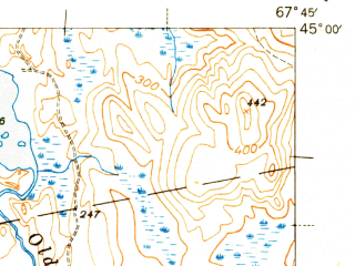 Reduced fragment of topographic map en--usgs--063k--063732--(1943)--N045-00_W068-00--N044-45_W067-45 in area of Pleasant Lake
