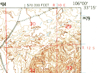 Reduced fragment of topographic map en--usgs--063k--063736--(1948)--N033-15_W106-15--N033-00_W106-00; towns and cities Tularosa
