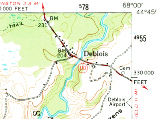 Reduced fragment of topographic map en--usgs--063k--063748--(1957)--N044-45_W068-15--N044-30_W068-00 in area of Tunk Lake, Molasses Pond, Spring Lake