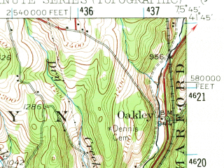 Reduced fragment of topographic map en--usgs--063k--063749--(1946)--N041-45_W076-00--N041-30_W075-45; towns and cities Factoryville, Hop Bottom, Nicholson