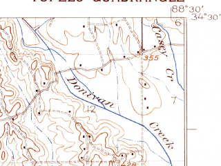 Reduced fragment of topographic map en--usgs--063k--063752--(1921)--N034-30_W088-45--N034-15_W088-30 in area of Lake Piomingo, Lake Lamar Bruce; towns and cities Tupelo, Guntown, Saltillo