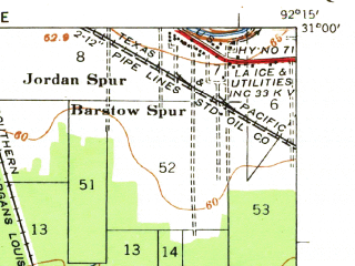 Reduced fragment of topographic map en--usgs--063k--063755--(1935)--N031-00_W092-30--N030-45_W092-15 in area of Lake Chicot, Hubbard Brake; towns and cities Turkey Creek, Pine Prairie