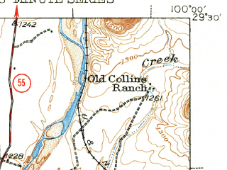 Reduced fragment of topographic map en--usgs--063k--063757--(1943)--N029-30_W100-15--N029-15_W100-00