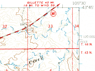 Reduced fragment of topographic map en--usgs--063k--063761--(1960)--N043-45_W105-45--N043-30_W105-30