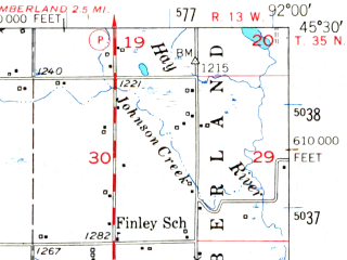 Reduced fragment of topographic map en--usgs--063k--063765--(1950)--N045-30_W092-15--N045-15_W092-00; towns and cities Almena, Clayton, Turtle Lake