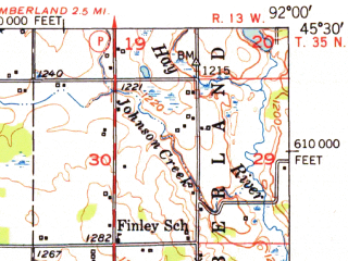 Reduced fragment of topographic map en--usgs--063k--063765--(1952)--N045-30_W092-15--N045-15_W092-00; towns and cities Almena, Clayton, Turtle Lake