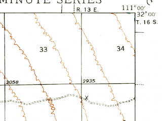 Reduced fragment of topographic map en--usgs--063k--063779--(1939)--N032-00_W111-15--N031-45_W111-00; towns and cities Green Valley
