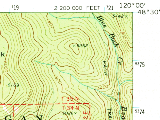 Reduced fragment of topographic map en--usgs--063k--063787--(1969)--N048-30_W120-15--N048-15_W120-00; towns and cities Twisp, Winthrop