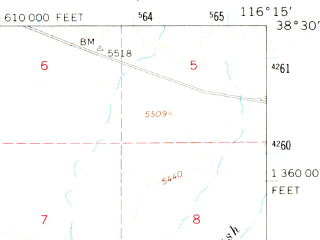 Reduced fragment of topographic map en--usgs--063k--063793--(1968)--N038-30_W116-30--N038-15_W116-15