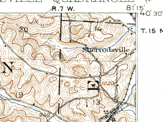 Reduced fragment of topographic map en--usgs--063k--063842--(1911)--N040-30_W081-30--N040-15_W081-15; towns and cities New Philadelphia, Uhrichsville, Barnhill, Dennison, Gnadenhutten