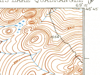 Reduced fragment of topographic map en--usgs--063k--063874--(1935)--N046-45_W069-30--N046-30_W069-15 in area of Umsaskis Lake, Priestly Lake