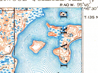Reduced fragment of topographic map en--usgs--063k--063908--(1915)--N046-30_W096-00--N046-15_W095-45 in area of West Lost Lake, North Turtle Lake, Fish Lake; towns and cities Underwood