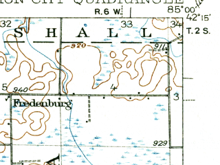 Reduced fragment of topographic map en--usgs--063k--063926--(1918)--N042-15_W085-15--N042-00_W085-00; towns and cities Athens, Burlington, Union City