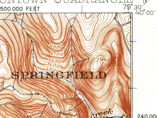 Reduced fragment of topographic map en--usgs--063k--063930--(1931)--N040-00_W079-45--N039-45_W079-30; towns and cities Uniontown, Dunbar, East Uniontown, Hopwood