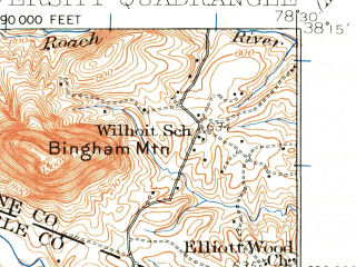 Reduced fragment of topographic map en--usgs--063k--063934--(1935)--N038-15_W078-45--N038-00_W078-30; towns and cities University Heights, Barracks, Crozet