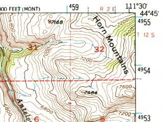 Reduced fragment of topographic map en--usgs--063k--063941--(1950)--N044-45_W111-45--N044-30_W111-30