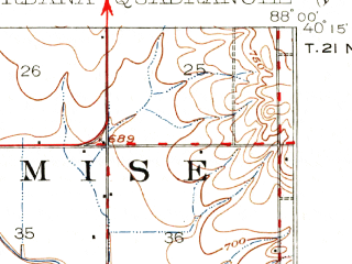 Reduced fragment of topographic map en--usgs--063k--063944--(1906)--N040-15_W088-15--N040-00_W088-00; towns and cities Urbana, Philo, Sidney, St. Joseph