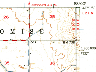 Reduced fragment of topographic map en--usgs--063k--063944--(1957)--N040-15_W088-15--N040-00_W088-00; towns and cities Urbana, Philo, Sidney, St. Joseph