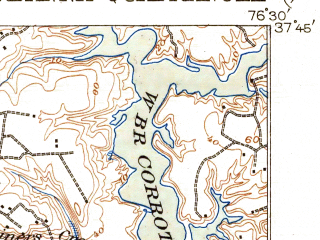 Reduced fragment of topographic map en--usgs--063k--063945--(1917)--N037-45_W076-45--N037-30_W076-30; towns and cities Urbanna