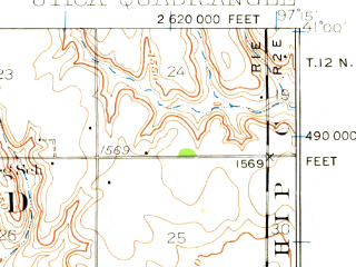 Reduced fragment of topographic map en--usgs--063k--063951--(1934)--N041-00_W097-30--N040-45_W097-15; towns and cities Beaver Crossing, Thayer, Utica