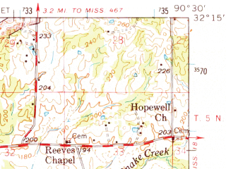 Reduced fragment of topographic map en--usgs--063k--063952--(1965)--N032-15_W090-45--N032-00_W090-30; towns and cities Learned, Utica