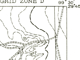 Reduced fragment of topographic map en--usgs--063k--063956--(1956)--N029-45_W099-45--N029-30_W099-30
