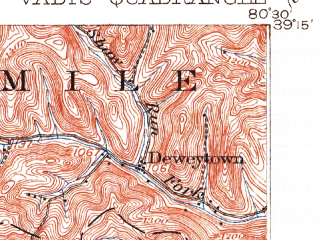 Reduced fragment of topographic map en--usgs--063k--063979--(1904)--N039-15_W080-45--N039-00_W080-30