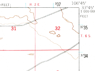 Reduced fragment of topographic map en--usgs--063k--063980--(1948)--N033-45_W107-00--N033-30_W106-45
