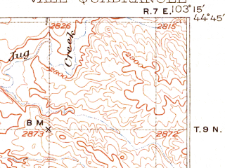 Reduced fragment of topographic map en--usgs--063k--064010--(1906)--N044-45_W103-30--N044-30_W103-15; towns and cities Newell