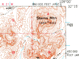 Reduced fragment of topographic map en--usgs--063k--064040--(1950)--N032-15_W109-15--N032-00_W109-00