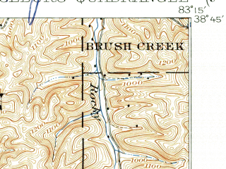 Reduced fragment of topographic map en--usgs--063k--064043--(1919)--N038-45_W083-30--N038-30_W083-15; towns and cities Concord, Rome, Vanceburg