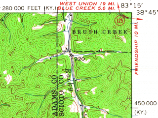Reduced fragment of topographic map en--usgs--063k--064043--(1949)--N038-45_W083-30--N038-30_W083-15; towns and cities Concord, Rome, Vanceburg