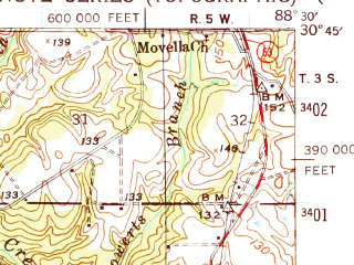 Reduced fragment of topographic map en--usgs--063k--064044--(1941)--N030-45_W088-45--N030-30_W088-30; towns and cities Vancleave