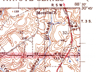 Reduced fragment of topographic map en--usgs--063k--064044--(1944)--N030-45_W088-45--N030-30_W088-30; towns and cities Vancleave