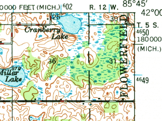 Reduced fragment of topographic map en--usgs--063k--064045--(1948)--N042-00_W086-00--N041-45_W085-45 in area of Diamond Lake, Juno Lake; towns and cities Vandalia