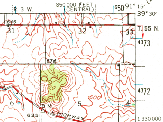 Reduced fragment of topographic map en--usgs--063k--064046--(1943)--N039-30_W091-30--N039-15_W091-15; towns and cities Curryville, Frankford, Vandalia