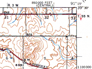 Reduced fragment of topographic map en--usgs--063k--064046--(1945)--N039-30_W091-30--N039-15_W091-15; towns and cities Curryville, Frankford, Vandalia