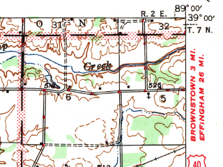 Reduced fragment of topographic map en--usgs--063k--064047--(1947)--N039-00_W089-15--N038-45_W089-00; towns and cities Vandalia, Patoka, Vernon