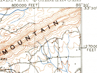 Reduced fragment of topographic map en--usgs--063k--064049--(1906)--N033-30_W086-45--N033-15_W086-30 in area of Lake Purdy; towns and cities Mountain Brook, Meadowbrook, Cahaba Heights, Chelsea